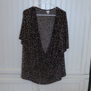 Merona Brown Circle Blouse 24w/26w